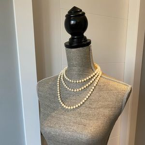 Long Strange Faux Pearl Necklace